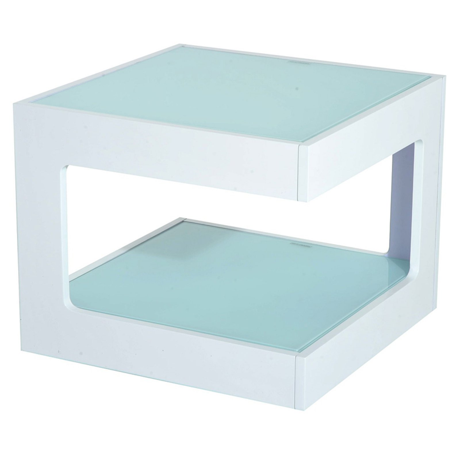 HomCom Glass Top Cube Accent End Table by Aosom