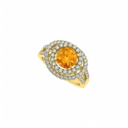 Glowing Engagement Ring (Fine Jewelry Vault UBNR83626AGVYCZCT Glowing Citrine & CZ Double Halo Engagement Ring, 65)