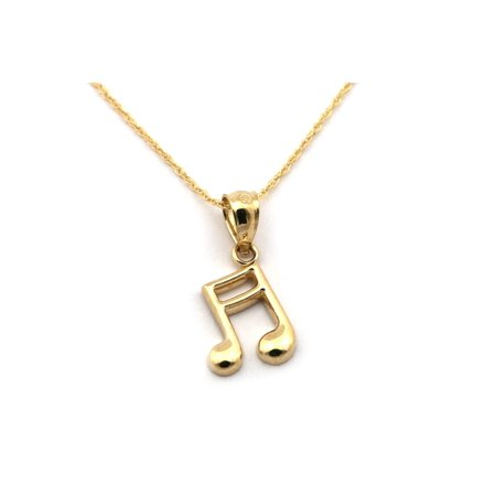14k Yellow Gold Small Music Note Pendant Necklace - 13 15 16 18 20 22