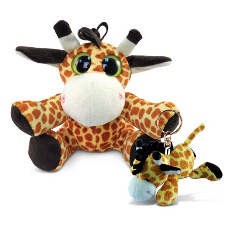 Puzzled Plush Giraffe   Big Eye 6 Inch And Keychain