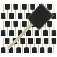 US Art Supply 2 inch Foam Sponge Wood Handle Paint Brush Set (Value Pack of 40) - Lightweight, durable