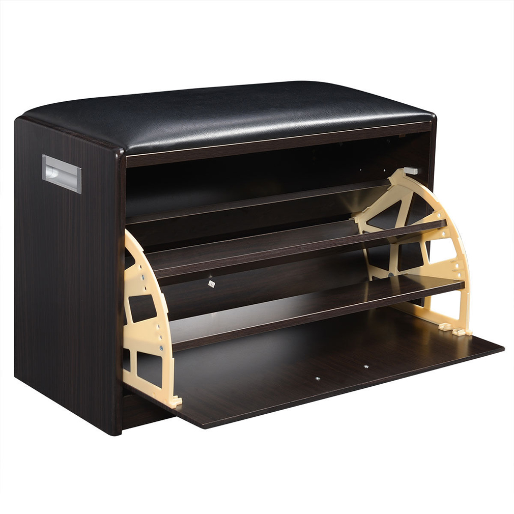 Deep Brown Wooden Shoe Cabinet Closet Storage Rack PU Sea...