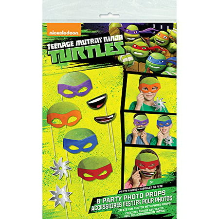 Teenage Mutant Ninja Turtles Photo Booth Props, 8pc - Ninja Turtle Party Invitations
