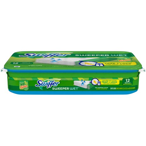 Swiffer Sweeper Wet Mopping Cloth Refills with Gain Scent, 12 count