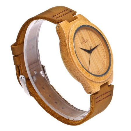 Wooden Bamboo Watch with Leather Strap Quartz Analog Casual Vintage Wood Watches with Gifts Box, Ideal Gifts for Christmas, Anniversary,...