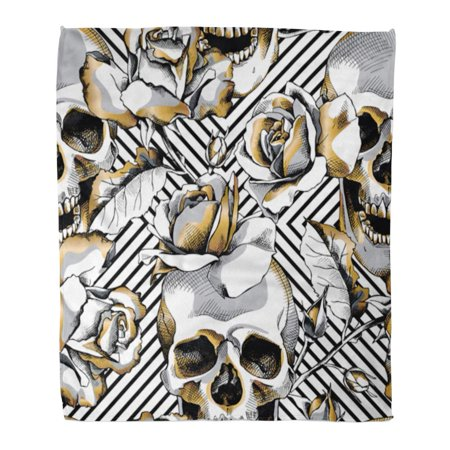 POGLIP Throw Blanket Warm Cozy Print Flannel Silver Pattern Gold Skull and Rose Flowers on Geometric Floral Comfortable Soft for Bed Sofa and Couch 58x80 Inches - image 1 of 1