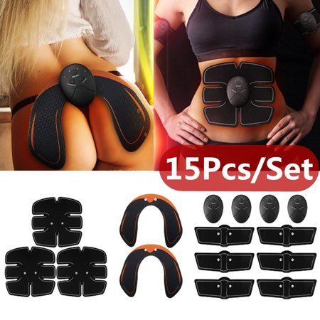 15PCS/Set Perfect Full Body EMS Trainer, Hip Butt Lifter Buttocks Enhancer, Muscle Training Abs Workout Slimming Sexy Body Shaper Fitness Kit (Abus Kit)