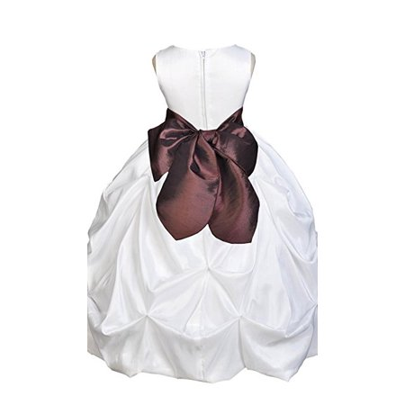 Ekidsbridal White Satin Taffeta Pick-Up Bubble Flower Girl Dresses Junior Toddler Formal Special Occasions Wedding Pageant Dresses Ball Gown Dance Recital Reception Birthday Girl Party 301S