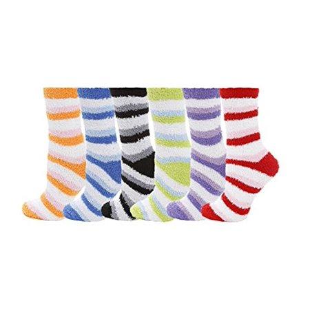 6 Pairs Women's Cozy Slipper Socks Fuzzy Sock Multi Color. Size 9-11](Christmas Sock)