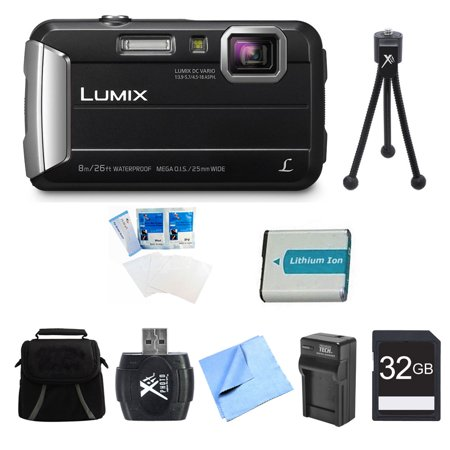 DEALS Panasonic LUMIX DMC-TS30 Active Tough Black Digital Camera 32GB Bundle - Includes Camera, 32GB Card, Compact Bag, Battery, Card Reader, Battery Charger, Mini Tripod, Screen Protectors, and Micro Fibe OFFER