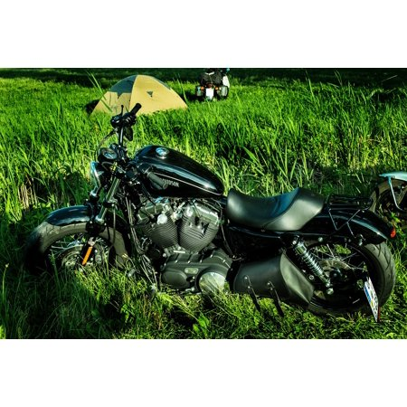 Canvas Print Motorcycle Davidson Harley Motor Meadow Stretched Canvas 10 x 14 ()