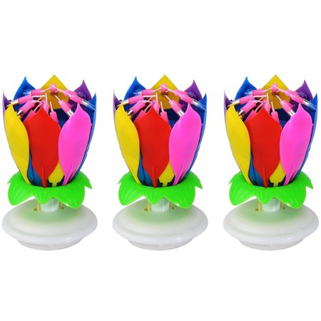 Anleolife 3PCS Music Birthday Candle Firework Musical Lotus Rotating