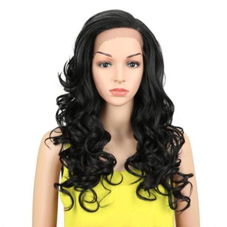 Noble Trendy Lace Front Wig Fiber Loose Wave Synthetic Hair Wigs Color 1B Pink Mixed Cosplay Wig Free Shipping
