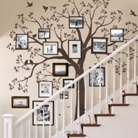 Staircase Family Tree Wall Decal - Chestnut Brown - Small 92-Inch w x 88-Inch h