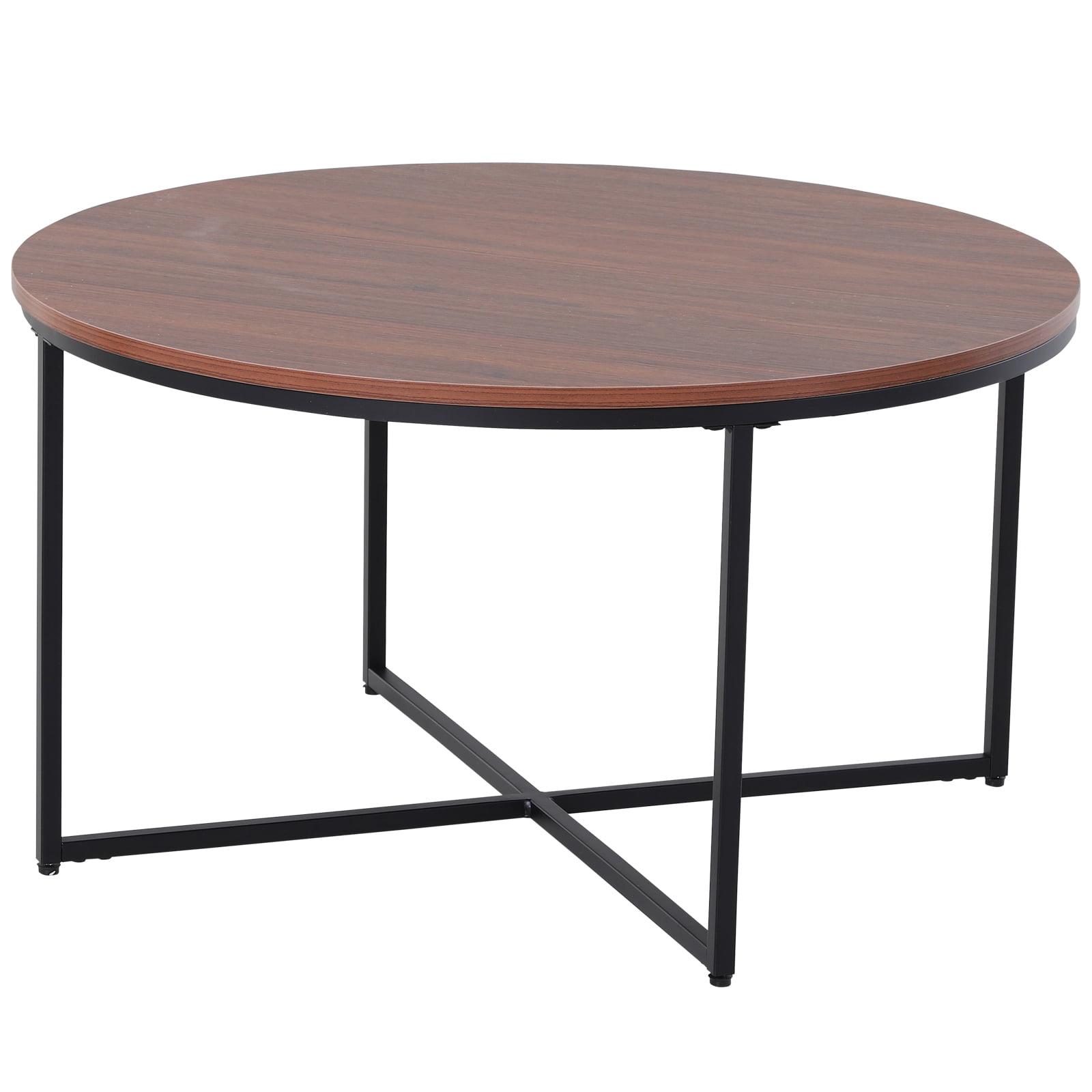 "homcom 315"" round living room coffee table with x base"