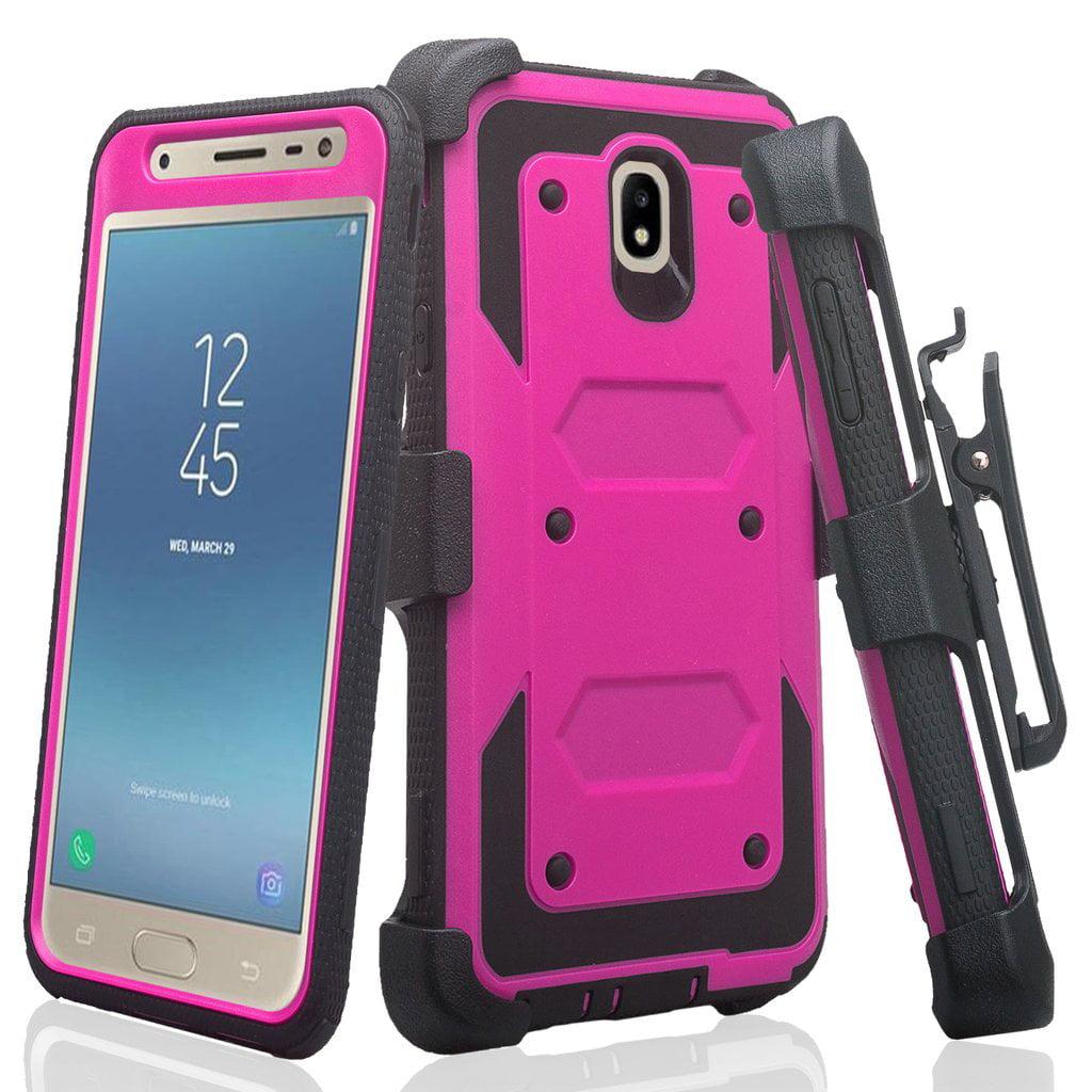 For Tracfone/StraightTalk Samsung Galaxy J3 Orbit (S367VL) Case, Shock  Proof Case w[Built In Screen Protector] Rugged Heavy Duty Belt Holster, Blue