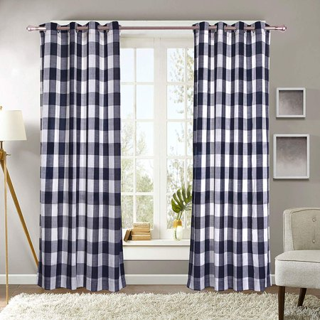 Decotex 2 Piece Plaid Courtyard Buffalo Checkered Grommet Top Window Curtain Panel Drapes (2 Panels 53