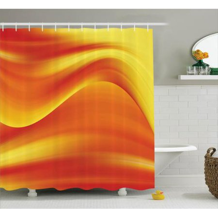 Orange Shower Curtain Digital Waves With Different Tones Motion Effect Smooth Hot Lines Art