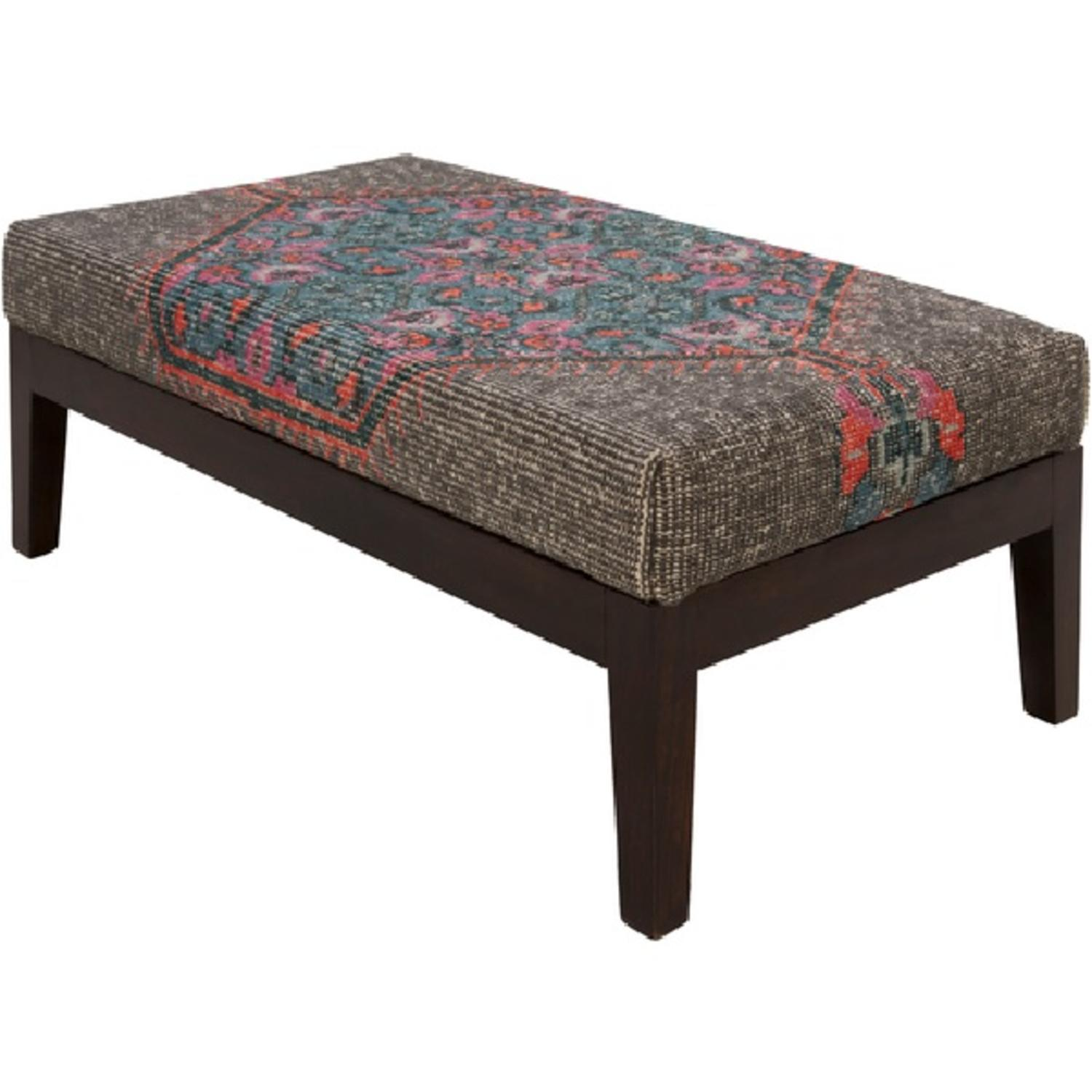 "47"" Zahra Bright Pink and Teal Wool with Dark Stained Wood Legs Decorative Bench"