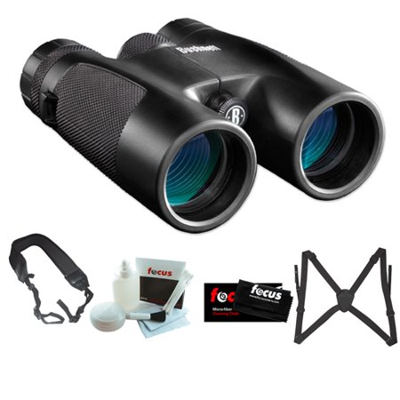 Bushnell 141042C Powerview 10X42mm Roof Prism Clam Binocular + Vanguard Optic Guard Binocular Harness + Accessory Kit