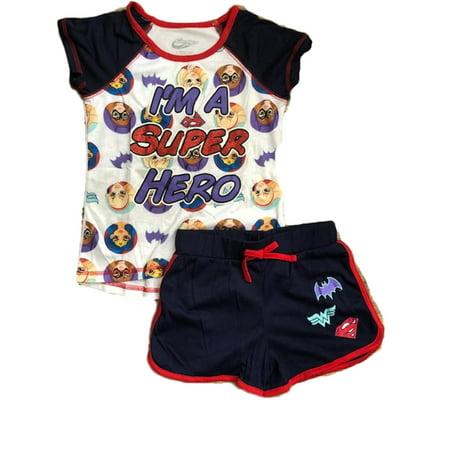 Superhero Big Girls 2PC Pajama Top & Short Set Sleepwear Batgirl Supergirl & Wonder Woman - Navy - Superhero Onesies For Women