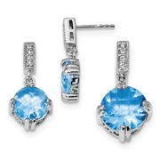 925 Sterling Silver Blue and Clear Cubic Zirconia Pendant and Earring Set