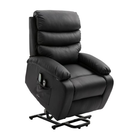 Homegear PU Leather Power Lift Electric Recliner Chair with Massage, Heat and Vibration with Remote Black - Make Halloween Electric Chair