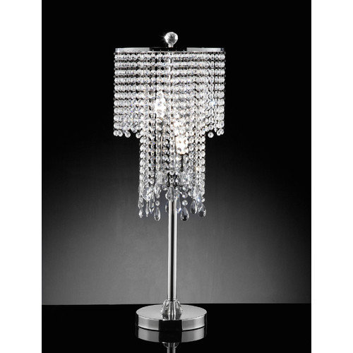 OK Lighting Rain Crystal 31.5'' H Table Lamp with Drum Shade
