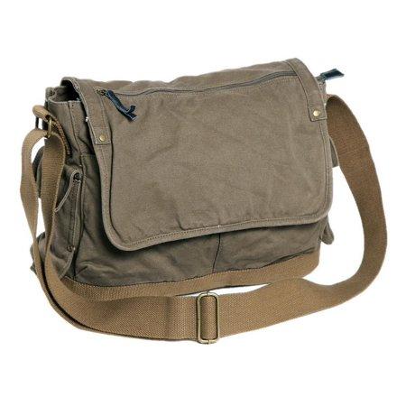 """Vintage Cotton Canvas 15"""" Casual Style Canvas Laptop Messenger Bag C31.GRN"""