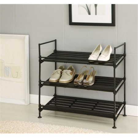 97223 Black Tier Shoe Rack with Tubular Steel and Plastic Resin (Tubular Side Case Racks)