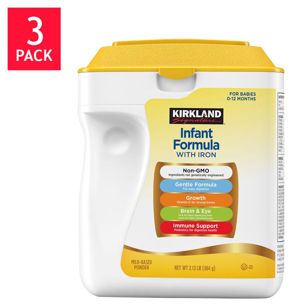 Kirkland Signature Non-GMO* Infant Formula 3-count / 34 oz - Walmart.com