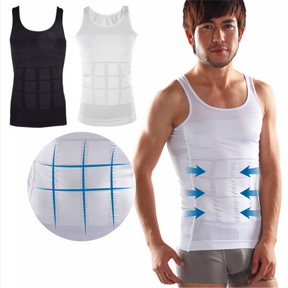 Men/'s Abdomen Muscle Compression Shapewear Slimming Body Shaper Vest Shirt Tummy