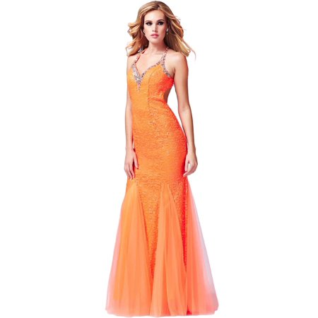 Cassandra Stone by Mac Duggal Womens Embellished Open Back Formal Dress (Adaptive Open Back Dress)