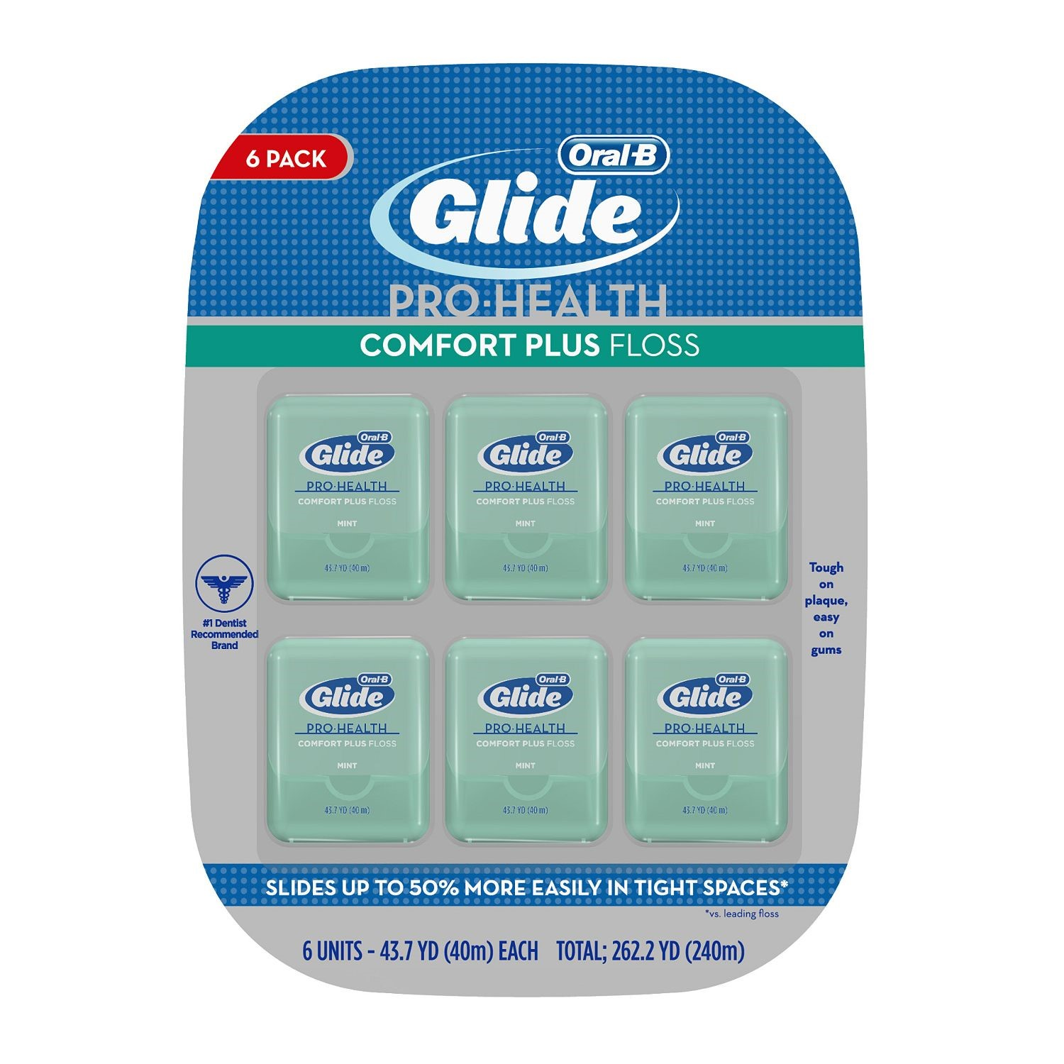 (Pack of 2) Oral-B Glide Pro-Health Comfort Plus Dental Floss, Mint, 40 M