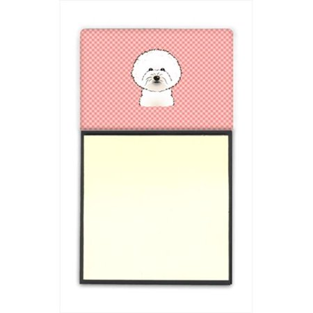 Checkerboard Pink Bichon Frise Refiillable Sticky Note Holder Or Postit Note Dispenser, 3 x 3 In.