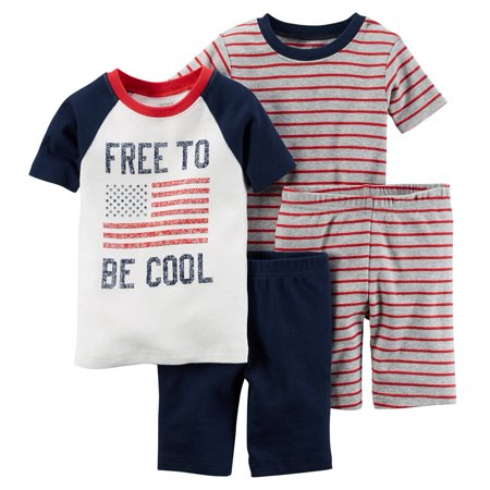 Pjs Clothing (Carters Baby Clothing Outfit Boys 4-Piece Snug Fit Cotton PJs Free to Be Cool)