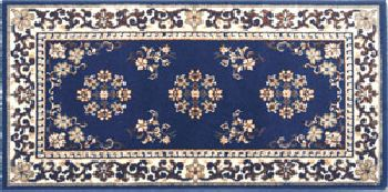 Click here to buy 22 x 44 Blue Oriental Virgin Wool Hearth Rug by Shop Chimney.