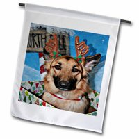 3dRose Deer Antler Headband on German Shepherd in Box with North Pole Sign Polyester 1'6'' x 1' Garden Flag
