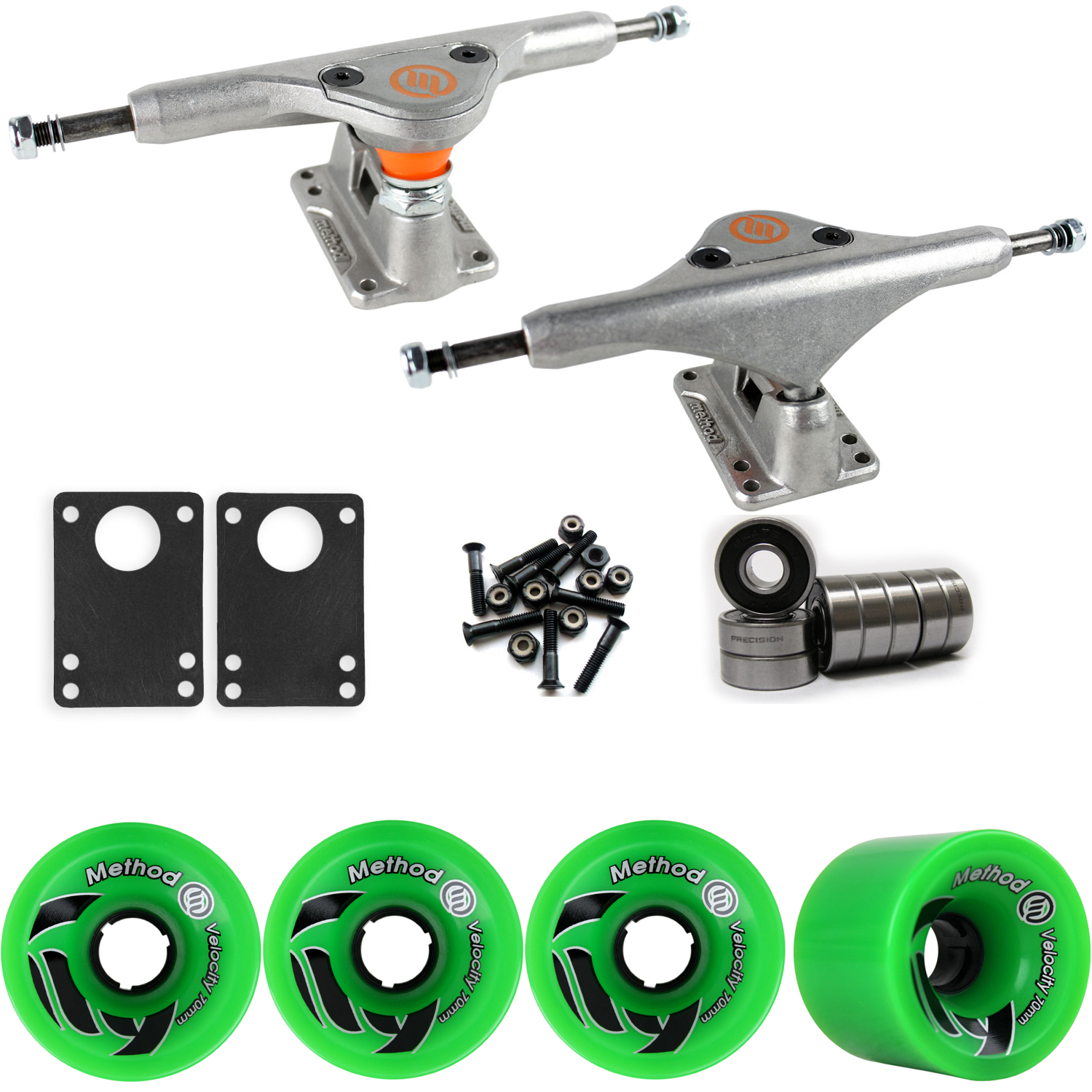 Longboard Trucks Wheels Package METHOD VELOCITY GREEN 70mm 81A ZC 170MM RAW