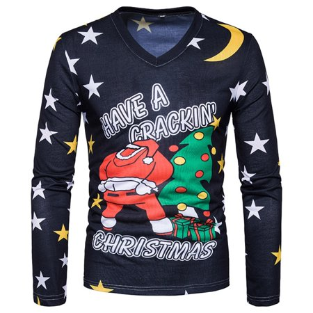 f033be20d7e Christmas T Shirts Men V Neck Santa Star Print Ugly T-shirt T Shirts -  Colormix - Walmart.com