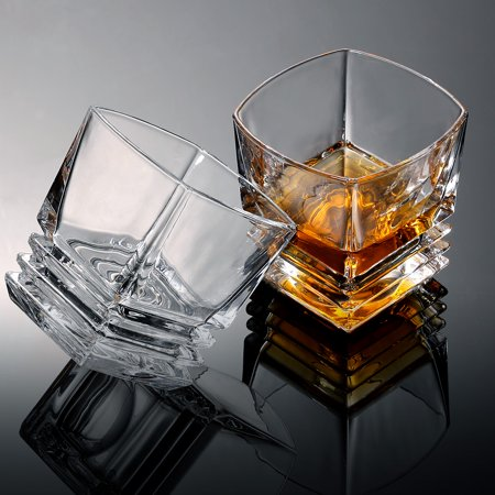 LANGRIA Crystal Whiskey Glasses, Set of 2, Large 10 oz Premium Lead-Free Crystal Glass Tasting Cups - Luxury Gift Box for Men or Women