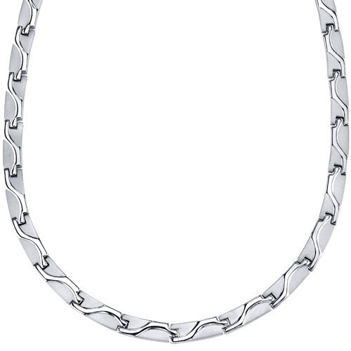 Oravo Rugged Appeal Titanium Mens Wave Pattern Flat Link 20 inch Chain Necklace