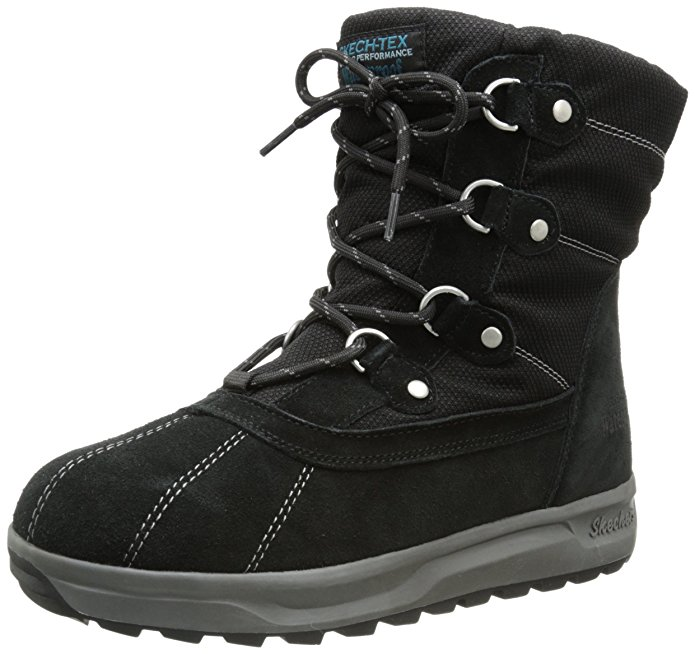Skechers STORM CLOUD CUMULUS Womens Black Leather Waterproof Snow Winter Boots by
