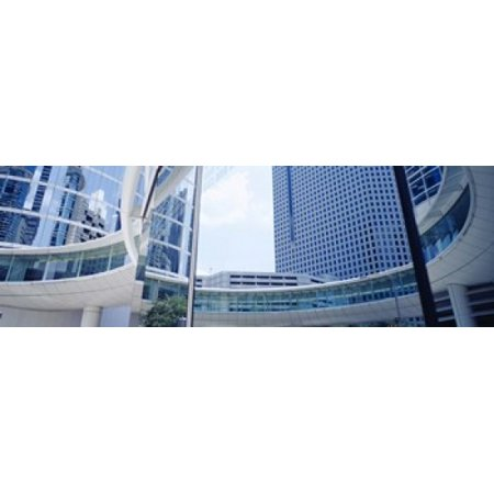 Low angle view of skyscrapers Enron Center Houston Texas USA Canvas Art - Panoramic Images (36 x 12)