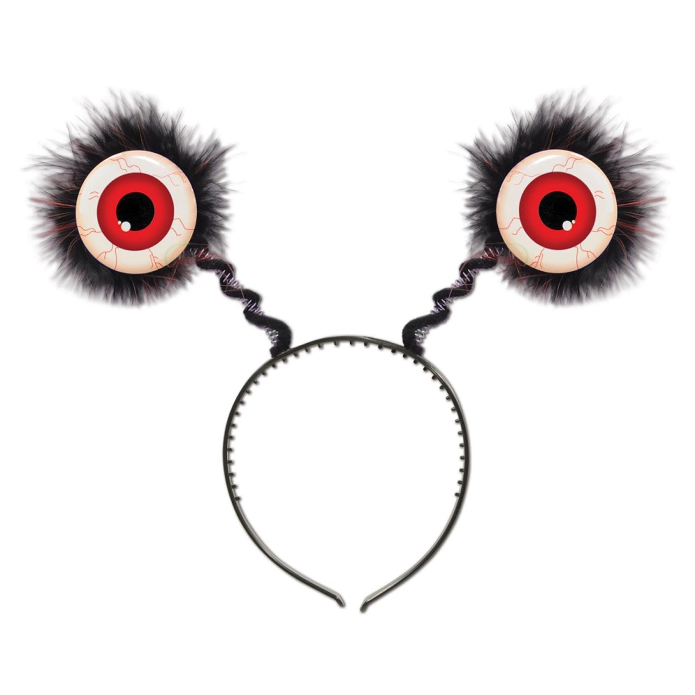 Club Pack of 12 Halloween Feathered Red Eyeball Bopper Headbands