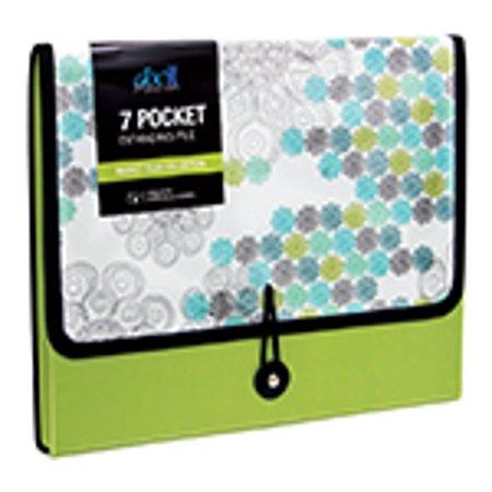 DocIt Market Tiles 7 Pocket Expanding File Folder for Letter Size Document Storage, Fits Standard File Drawers, Green