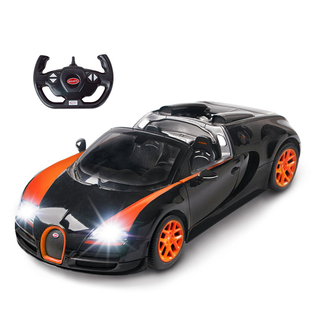 Bugatti Veyron Super Sport Black Orange: RASTAR Bugatti Toy Car, 1/14 Bugatti Remote Control Car