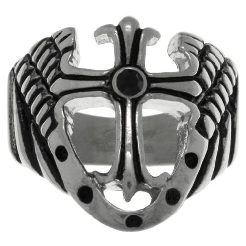 Carolina Glamour Collection Stainless Steel Cross with Shield and Wings Wide Band Ring Size 12