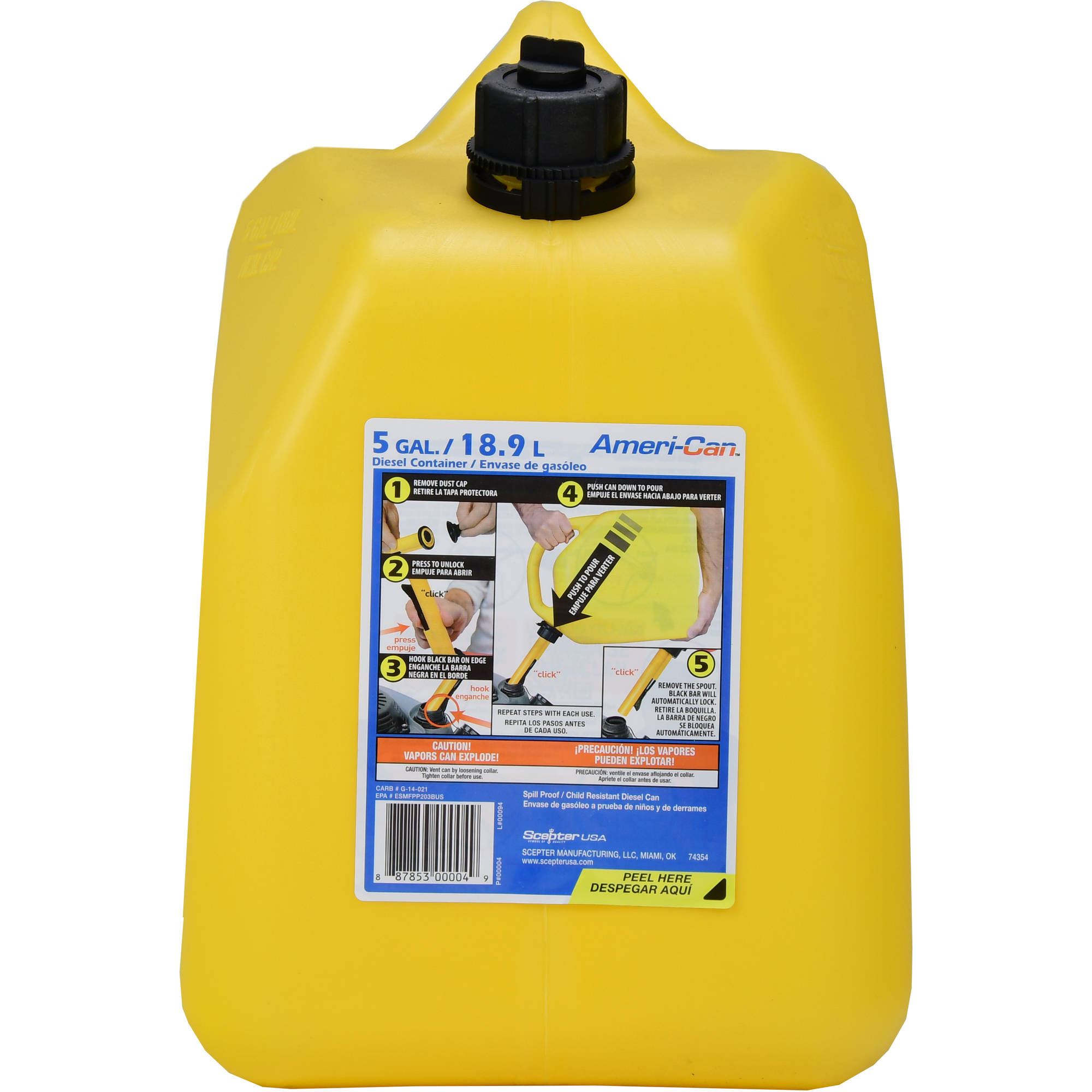 Scepter 5 gal Diesel Can, Yellow