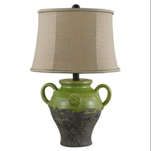 "22"" Kiwi Green Urn Ceramic Half Glazed Table Lamp with Taupe Linen Shade"